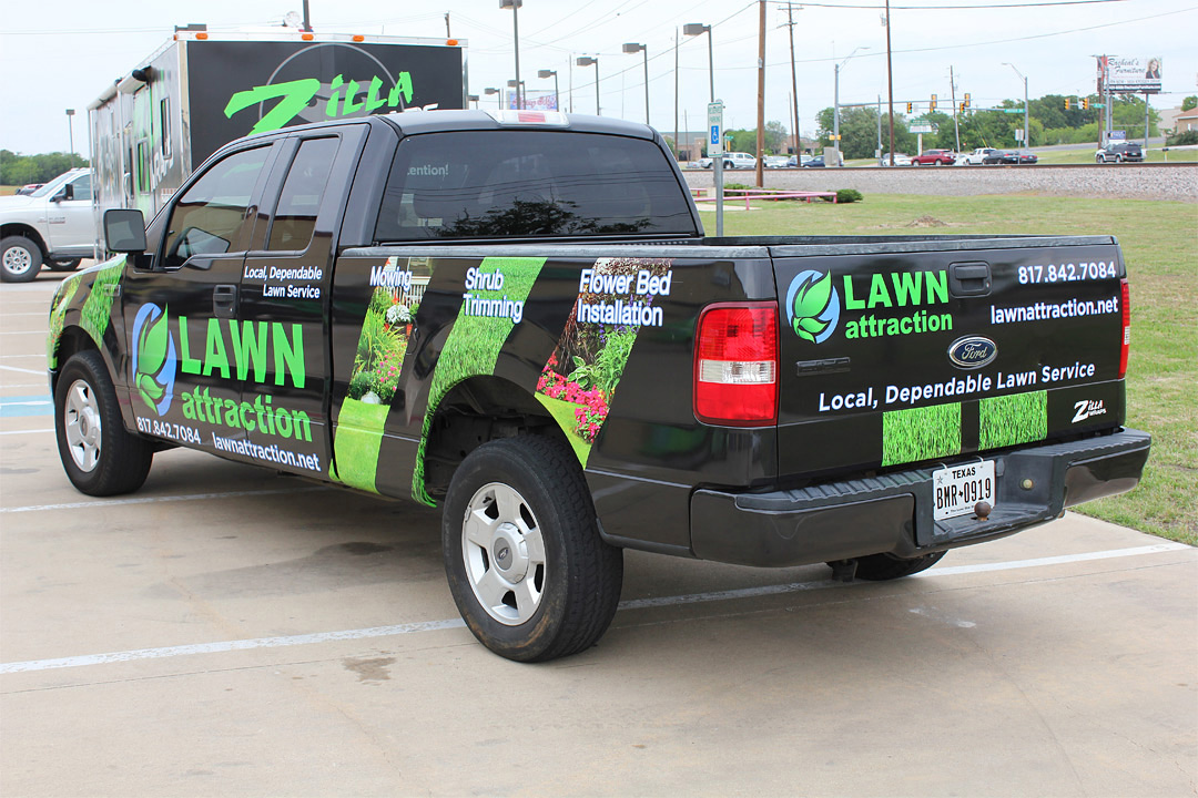 Lawn care truck wrap dallas zilla wraps