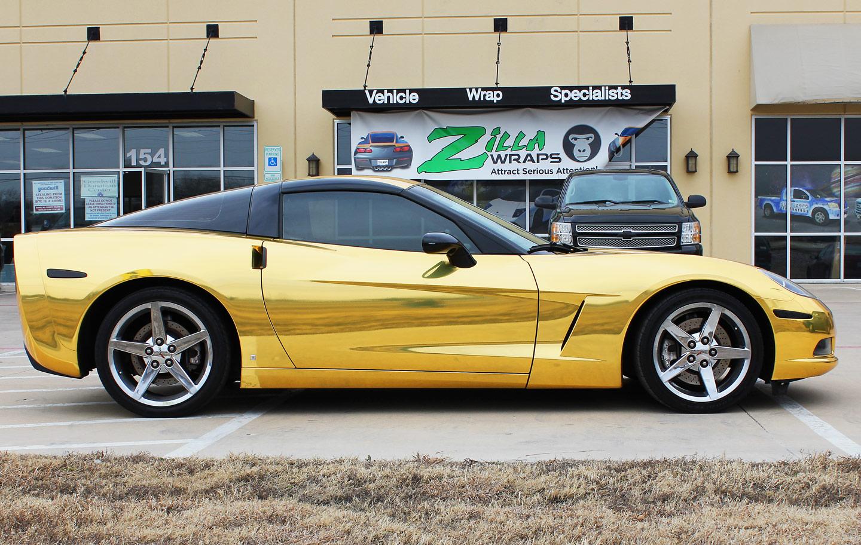 Gold Chrome Wrap Gold Chrome Wrap Corvette Fort