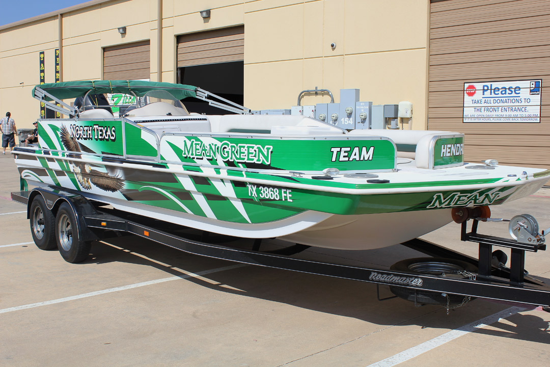 Mean Green Boat Wrap Dallas Zilla Wraps