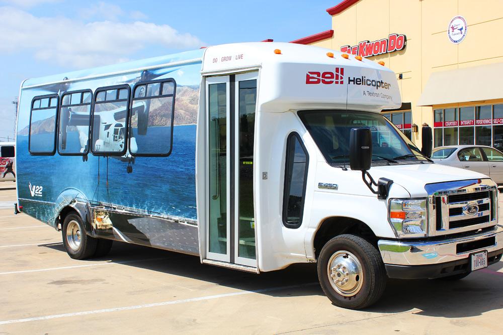 Shuttle Bus Wrap DFW - Zilla Wraps