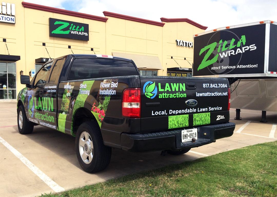 Lawn service truck wrap keller zilla wraps for Lawn maintenance companies