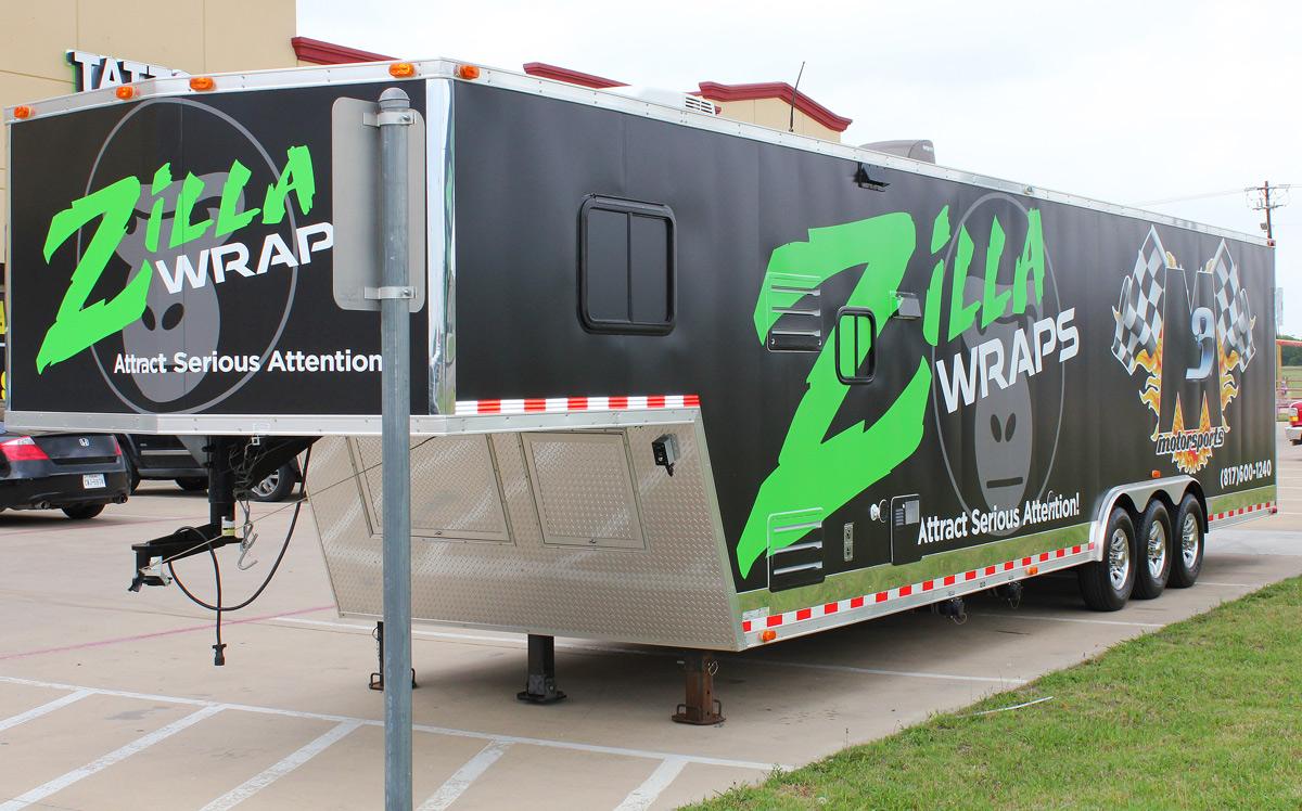 Race Trailer Graphics Dallas Fort Worth - Zilla Wraps