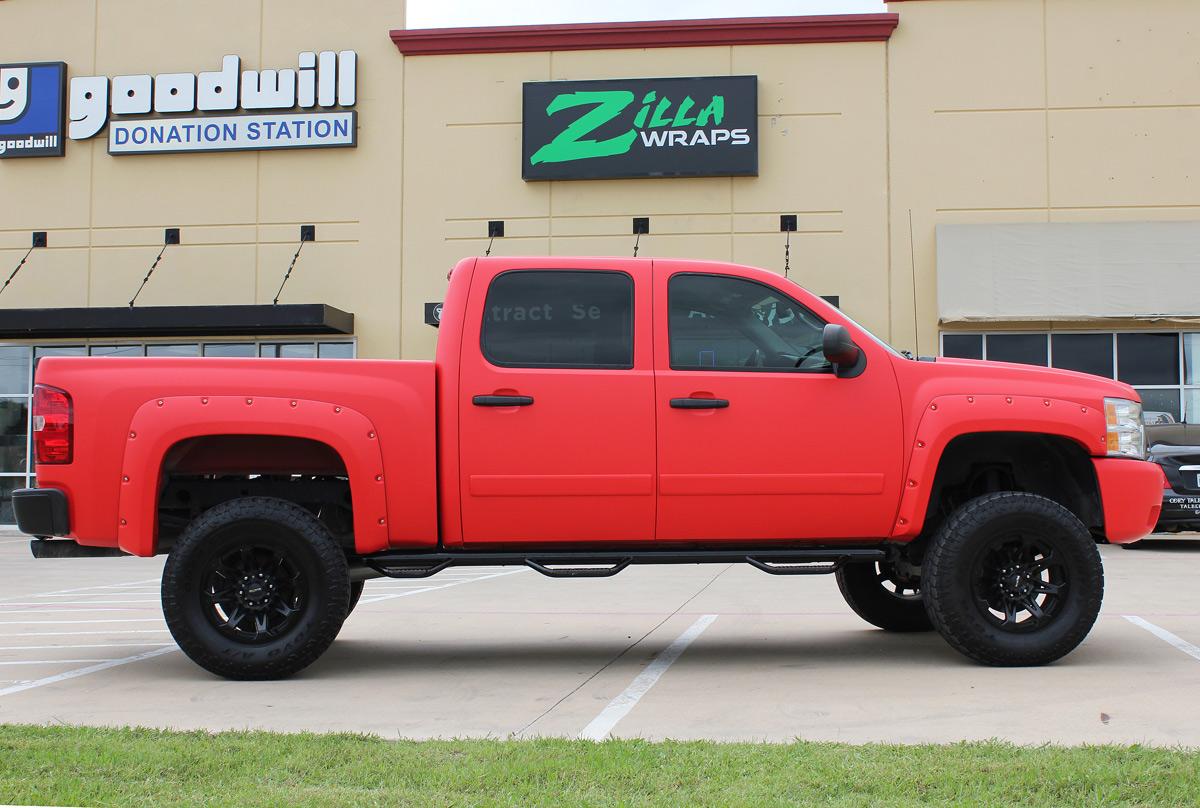 Matte Red Vinyl Truck Wrap Zilla Wraps