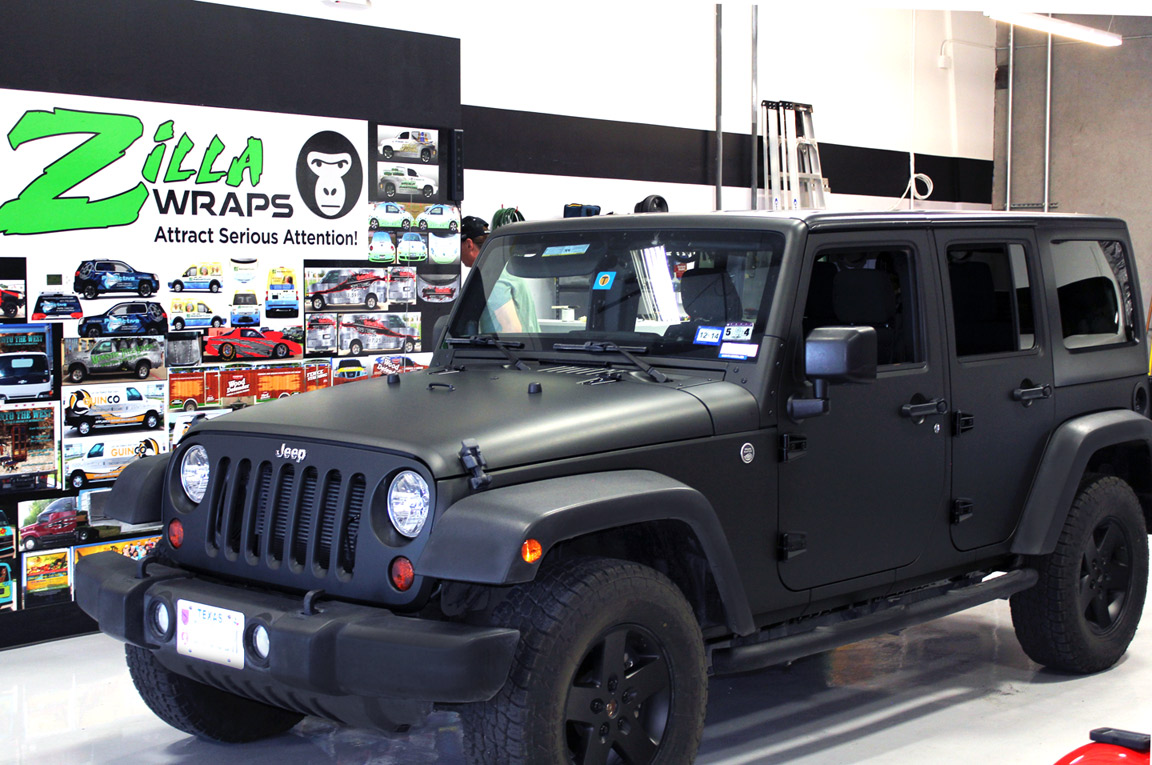 Matte Black Wrap Jeep Wrangler Zilla Wraps