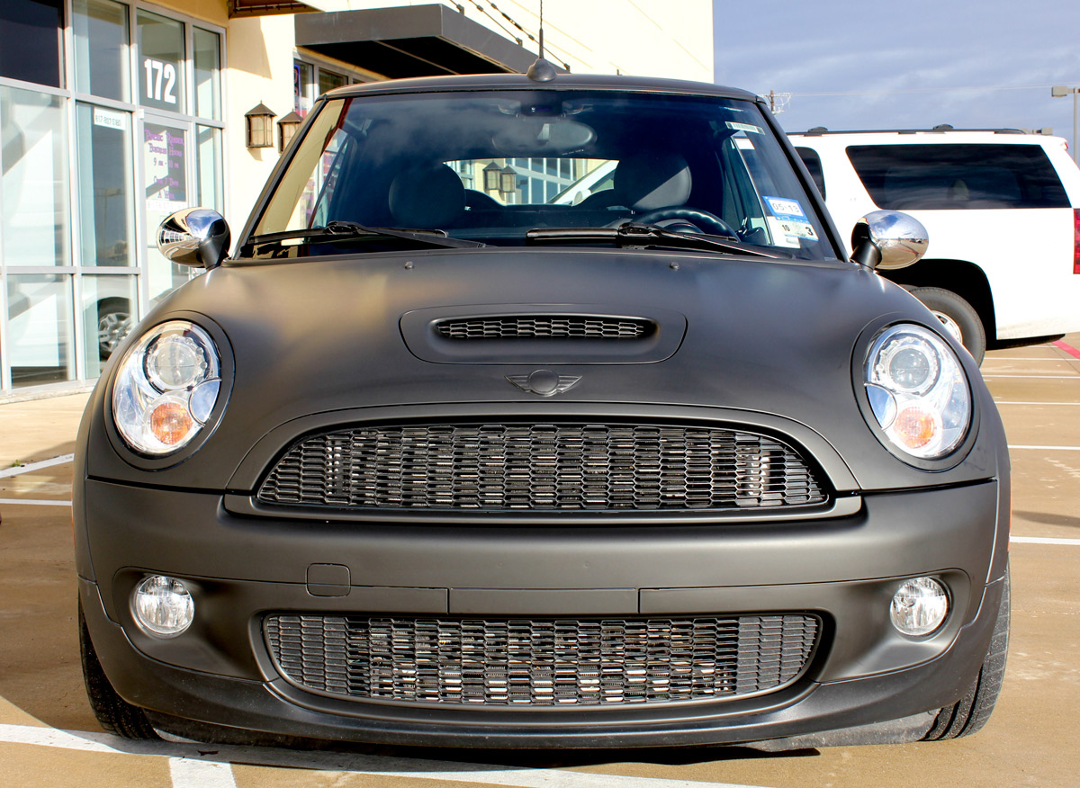 matte black mini cooper car wrap zilla wraps. Black Bedroom Furniture Sets. Home Design Ideas