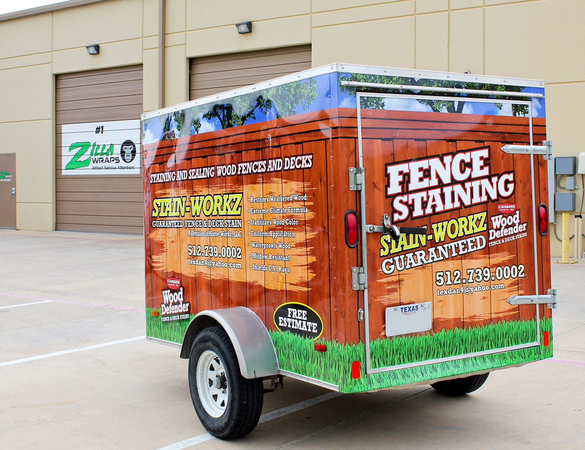 Fence Staining Trailer Wrap Zilla Wraps