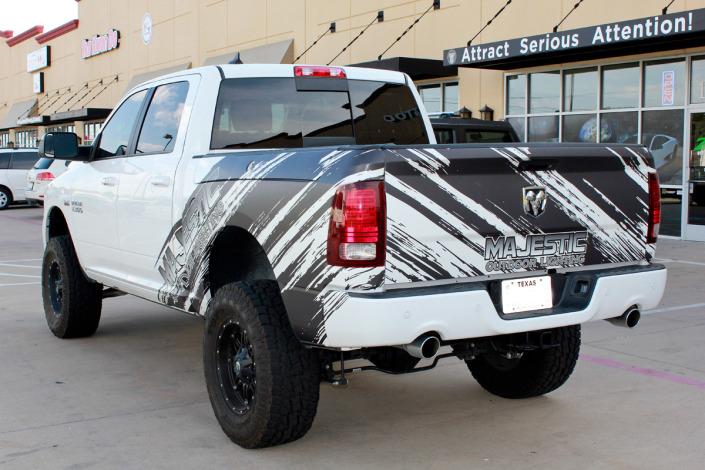 Matte Black White Truck Wrap