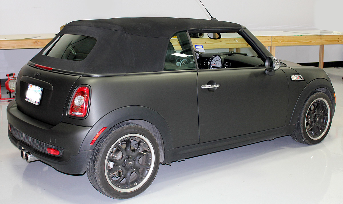matte black mini cooper car wrap zilla wraps. Black Bedroom Furniture Sets. Home Design Ideas