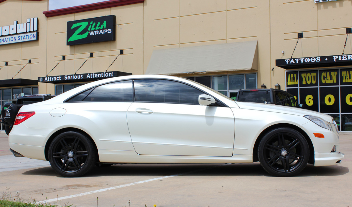 Satin Pearl White Mercedes E350 Car Wrap Zilla Wraps