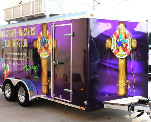 Purple Cargo Trailer Wrap DFW