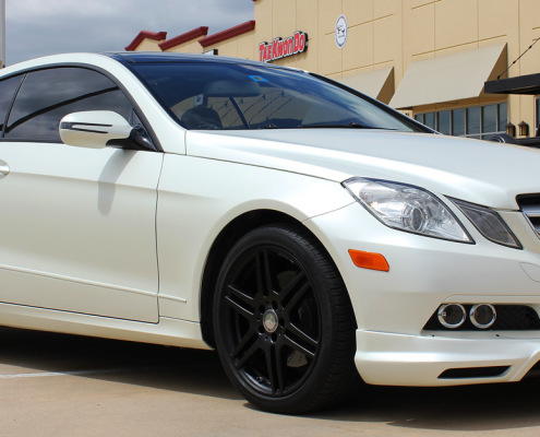 Satin Pearl White Mercedes E350 Car Wrap Zilla Wraps