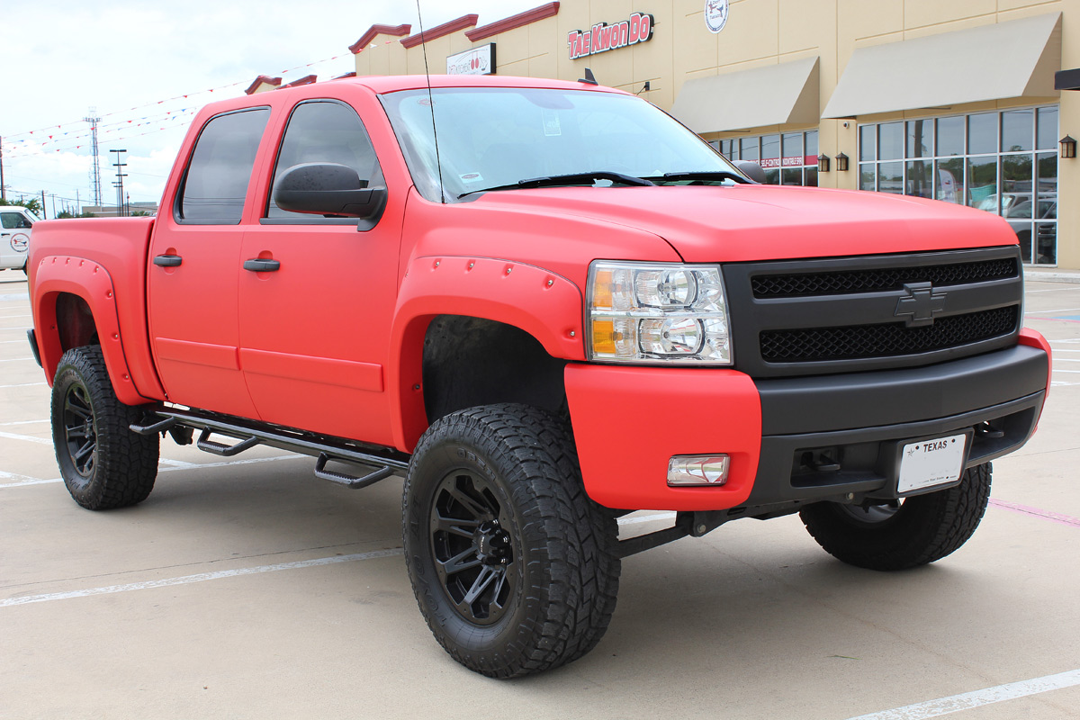 Matte Red Truck Wrap - Zilla Wraps