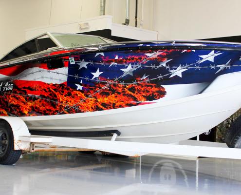 American Flag Vinyl Boat Wrap