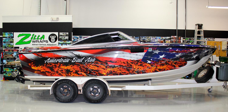 American Flag Vinyl Boat Wrap Zilla Wraps