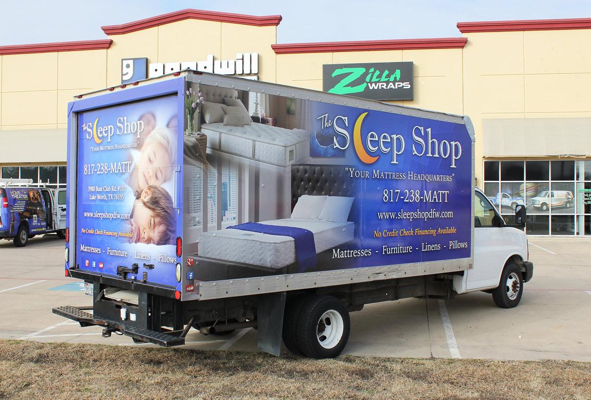 Sleep Shop Box Truck Wrap Zilla Wraps