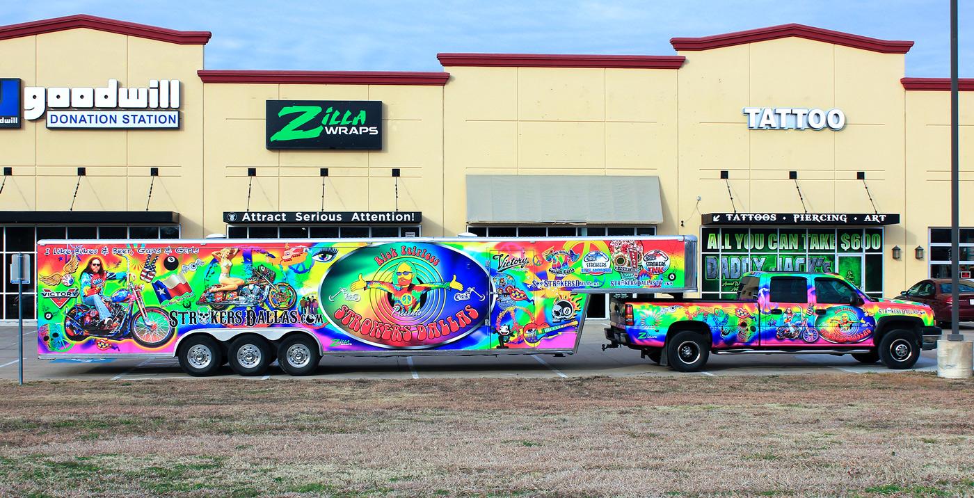 Zilla Wraps Strokers Dallas Trailer Wrap