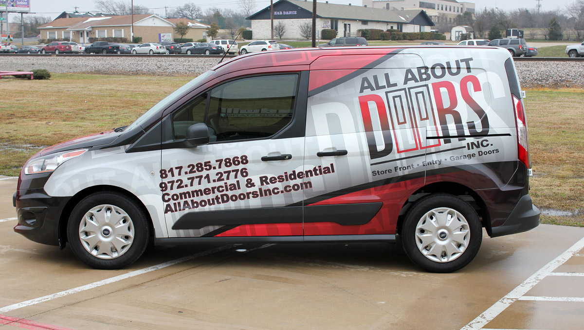 Ford transit van wrap all about doors fort worth zilla wraps for Garage wraps
