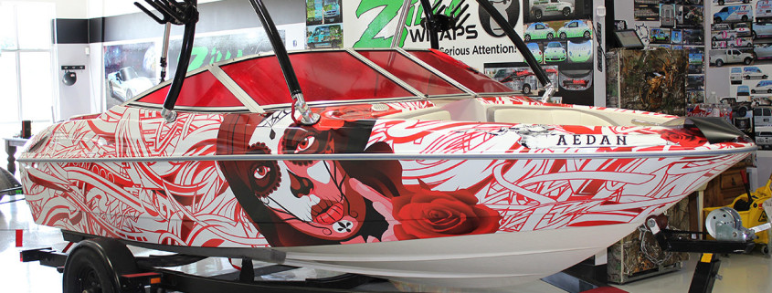 Edgy Red Boat Wrap Bayliner