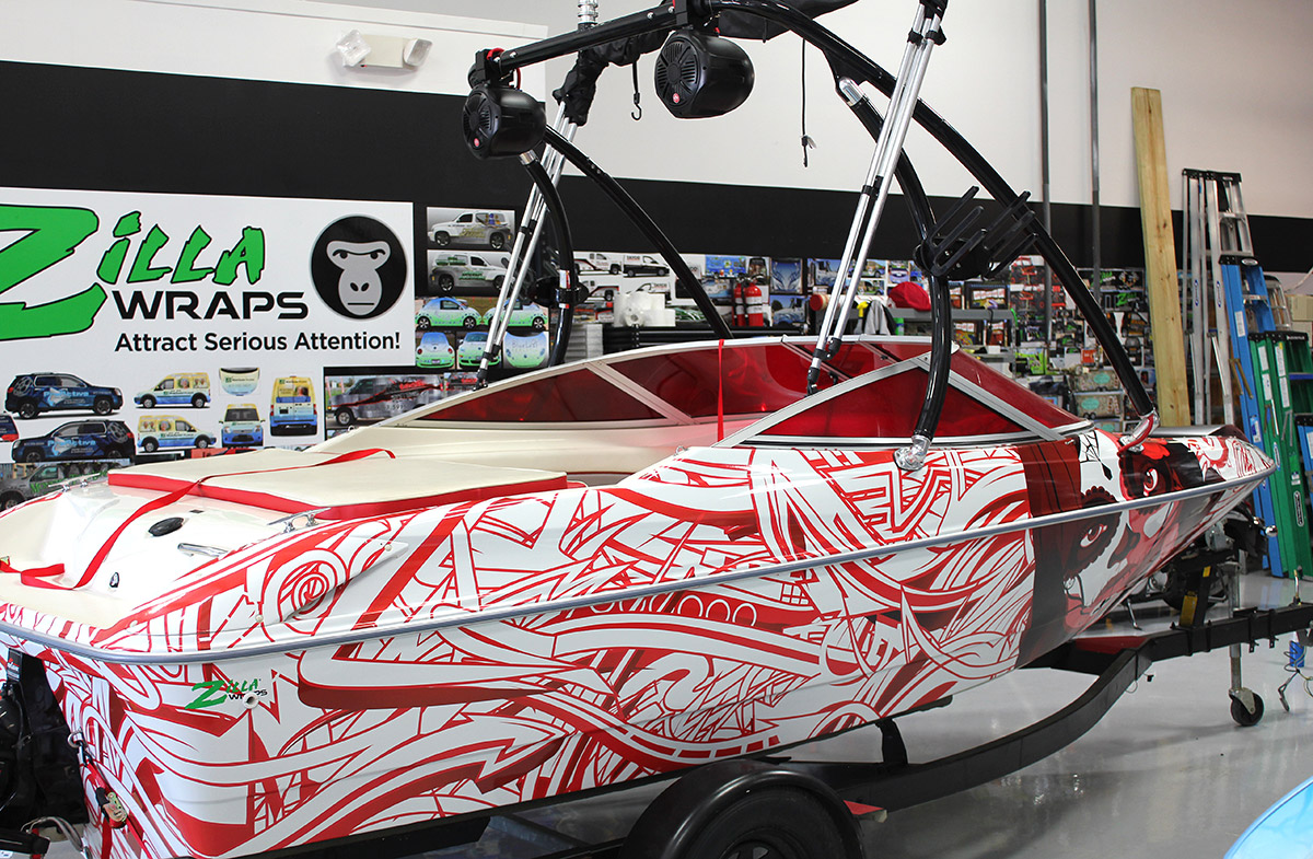 Zilla Wraps Edgy Boat Wrap