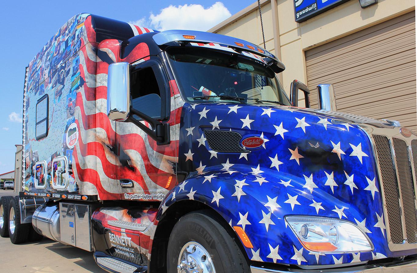 peterbilt semi cab graphic wraps american flag wrap